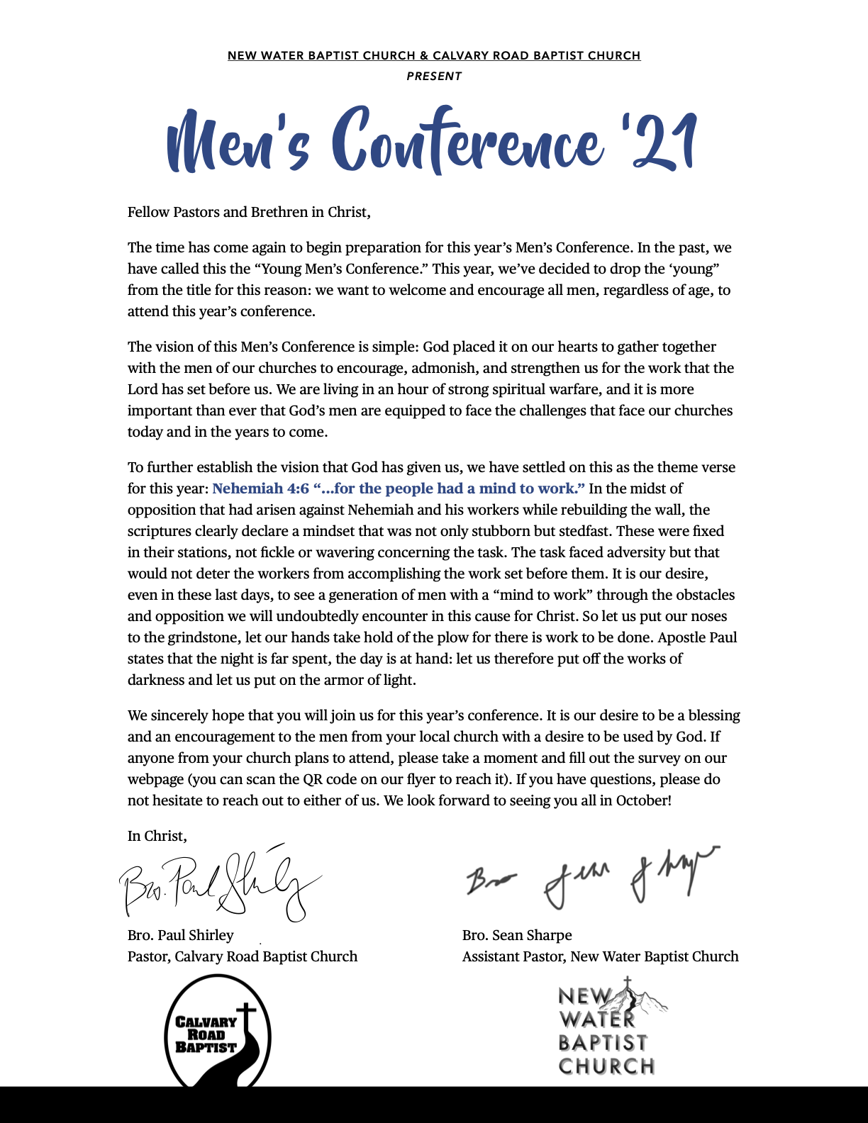 Letter for the Men's Conference '21